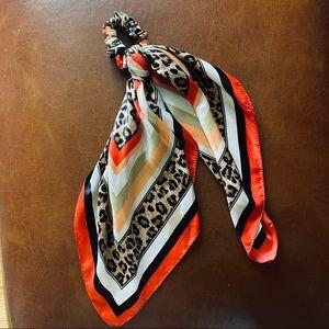 Cheetah print scarf hair tie